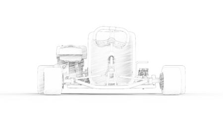 3d rendering of a go kart isolated in a white studio background Banco de Imagens - 133512829