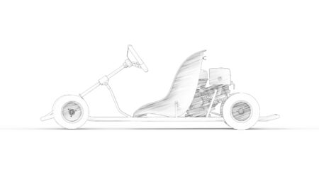 3d rendering of a go kart isolated in a white studio background Banco de Imagens - 133512830