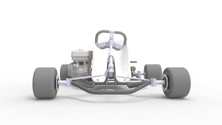 3d rendering of a go kart isolated in a white studio background Banco de Imagens - 133512833