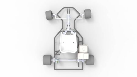 3d rendering of a go kart isolated in a white studio background Banco de Imagens