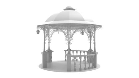 3d rendering of an empty gazebo isolated in studio background Reklamní fotografie