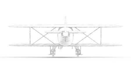 3d rendering of a bi plane isolated in white studio background Banco de Imagens