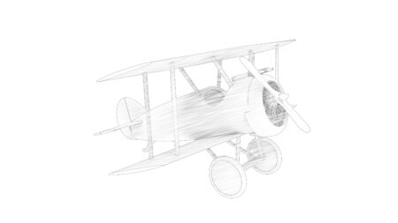 3d rendering of a world war 1 fighter bi plane isolated in white background