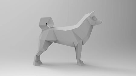 3d rendering of a dog low polygon isolated in a studio white background