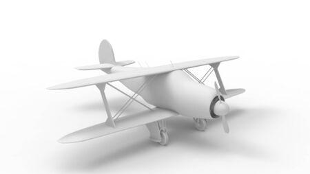 3d rendering of a bi plane isolated in white studio background Banco de Imagens - 133512885