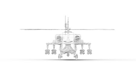 3d rendering of a combat helicopter isolated in white studio background Reklamní fotografie