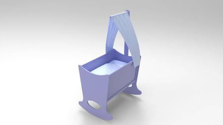 3d rendering of a blue baby crib bed isolated in studio background