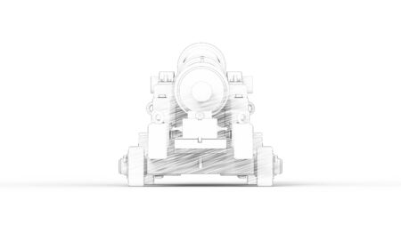 3d rendering of an old ancient cannon isolated in studio background