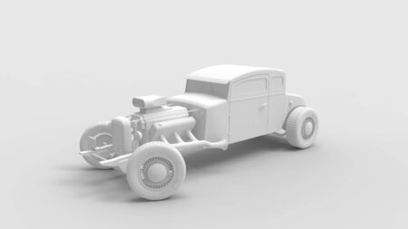 3d rendering of a vintage hot rod isolated in a colored studio background Stock fotó