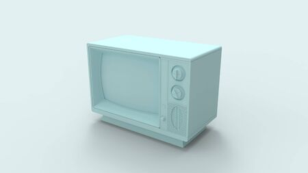 3d rendering of a retro television isolated in a colored studio background Reklamní fotografie