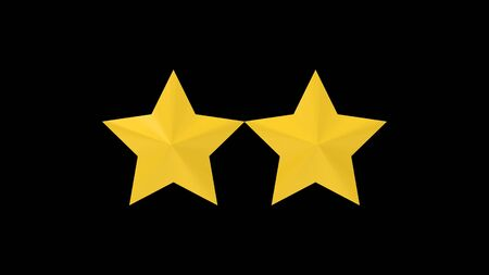 3d rendering of star rating symbols isolated in a studio background.