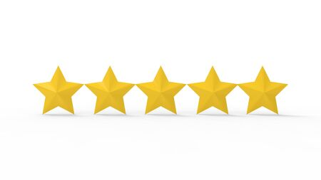 3d rendering of star rating symbols isolated in a studio background. Banque d'images - 134022421