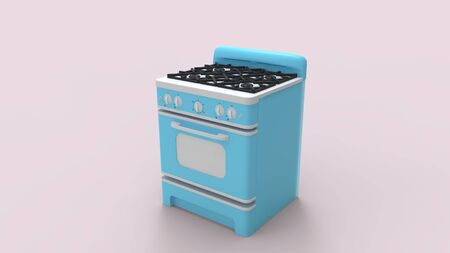 3d rendering of a blue retro vintage cooking stove isolated in a colored studio 版權商用圖片