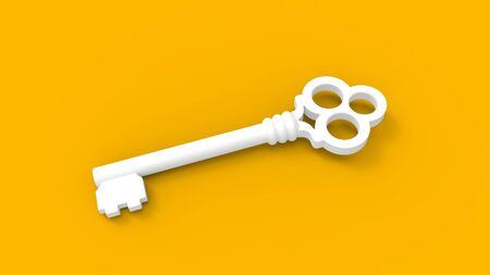 3d rendering of a key isolated in a colored studio background