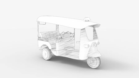 3d rendering of a tuk tuk isolated in a studio background. 版權商用圖片