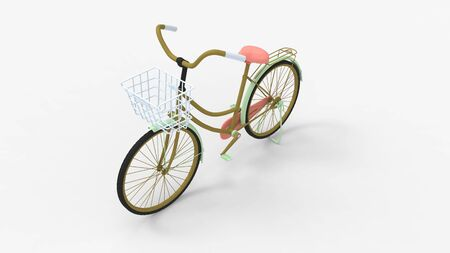 3d rendering of a bicycle isolated in a light studio background
