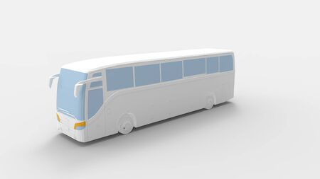 3d rendering of a passenger bus isolated in a grey studio background.