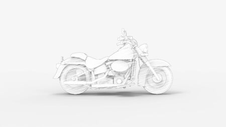 3d rendering of a cruiser motorcycle isolated in studio background