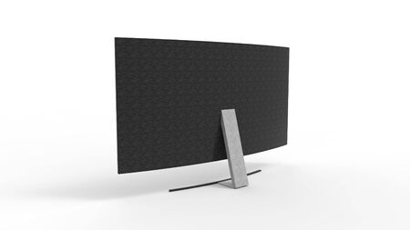 3d rendering of a curved television screen monitor isolated in a studio background 写真素材