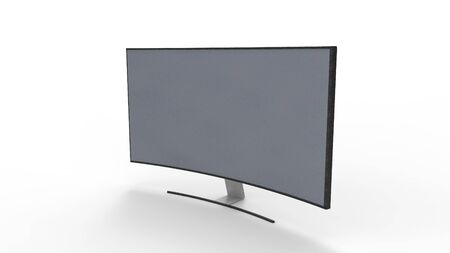 3d rendering of a curved television screen monitor isolated in a studio background