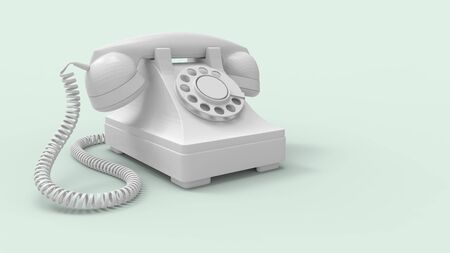 3d rendering of a vintage phone isolated on studio background