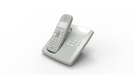 3d rendering of a telephone device isolated in a studio background