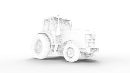 3d rendering of a tractor isolated in studio background Stock Photo