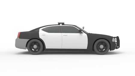 3d rendering of a police car isolated in studio background 写真素材