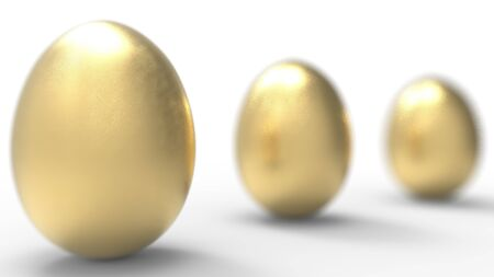 3d rendering of a golden egg isolated in studio background