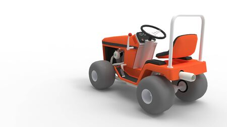3d rendering of a lawnmover racing machine isolated in a studio background