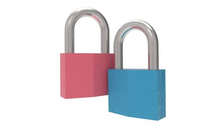 3d rendering of a padlock isolated in a studio background