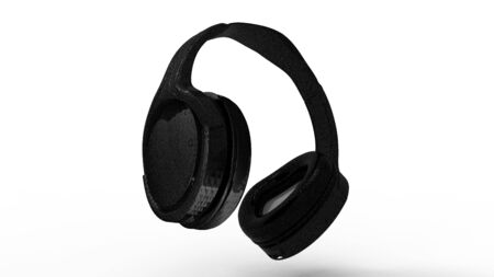 3d rendering of black head phones isolated in a white studio background Фото со стока