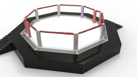 3D-Rendering eines Ringkampfrings isoliert in einem Studiohintergrund