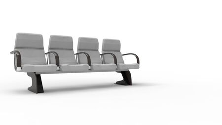 3d rendering of a row of waiting room seats isolated in a white background 写真素材