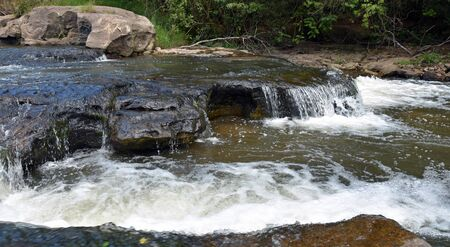 Flowing rapid wild river in the south of Brazil