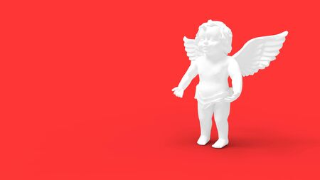 3d rendering of Cupido statue small child with wings in a studio background