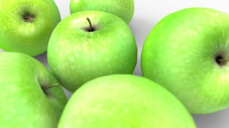 3d rendering of a group of apples isolated in a studio background Banco de Imagens
