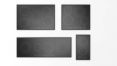 Representación 3D de placas de cocción de cerámica aisladas en el fondo del estudio