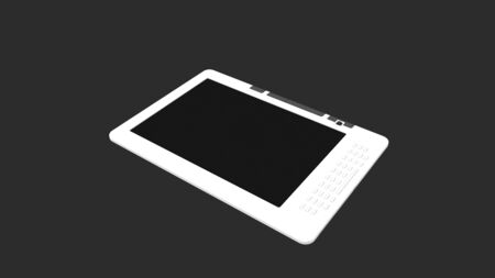 3d rendering of an e reader isolated in a studio background