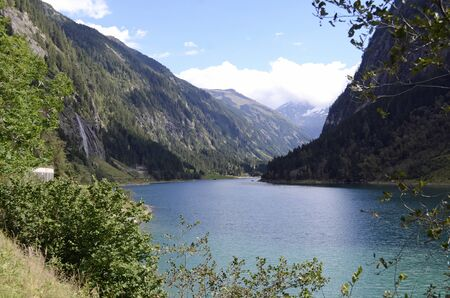Austria europe lake in a natural scenic mountain landscape