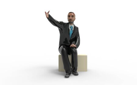 3d rendering of a business man sitting on a block on a white background.