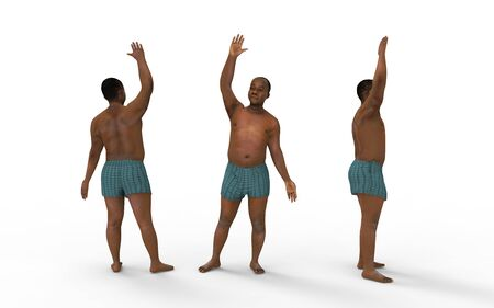3d rendering of a dark skin colored man in underwear waving on white.