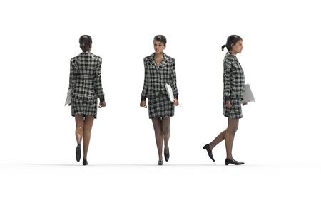 3d rendering of a business woman walking in white studio background 写真素材