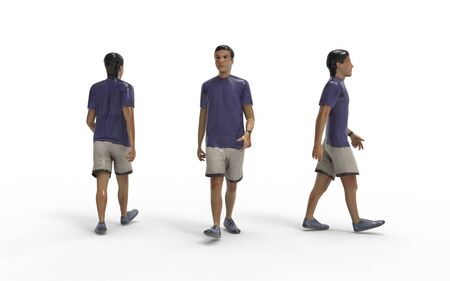 3d rendering of a man walking isolated in white studio background Banco de Imagens