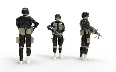 3d rendering of a soldier wearing equipement and uniform in studio. Banco de Imagens