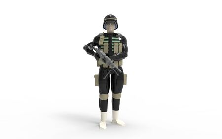 3d rendering of a soldier wearing equipement and uniform in studio Stock Photo