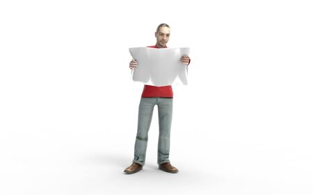 3d rendering of a man holding a newspaper reading isolated on white background