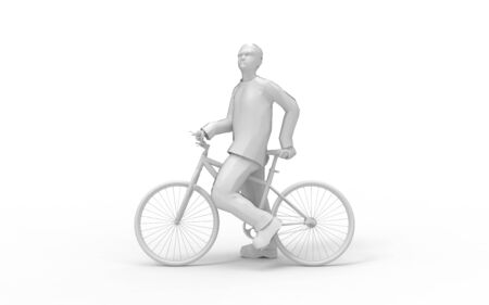 3d rendering of a man on a bicycle isolated in white studio background.