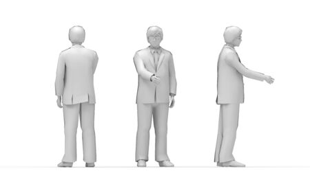 3d rendering of a business man shaking hands isolated in white background.