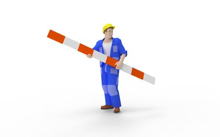 3d rendering of a man holding a road warning sign isolated in white studio background